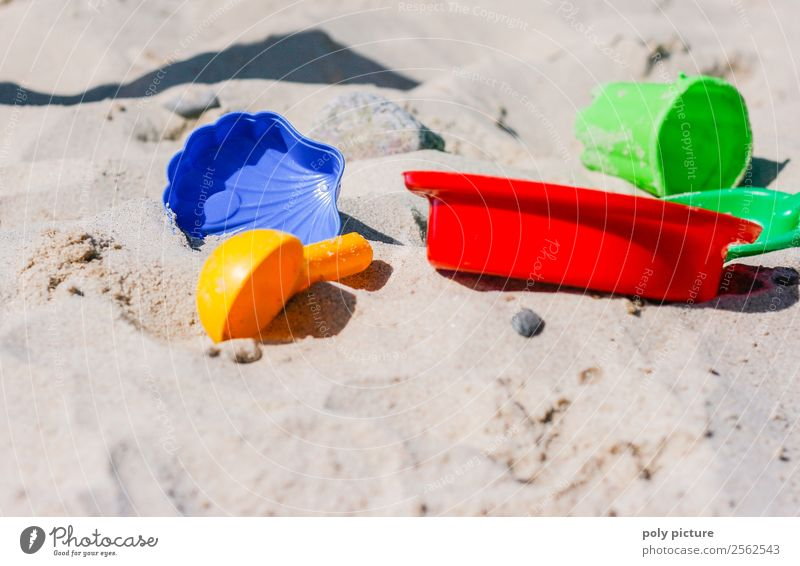 Colourful sand toys on the beach Vacation & Travel Tourism Trip Adventure Summer Summer vacation Sun Sunbathing Beach Spring Autumn Climate change
