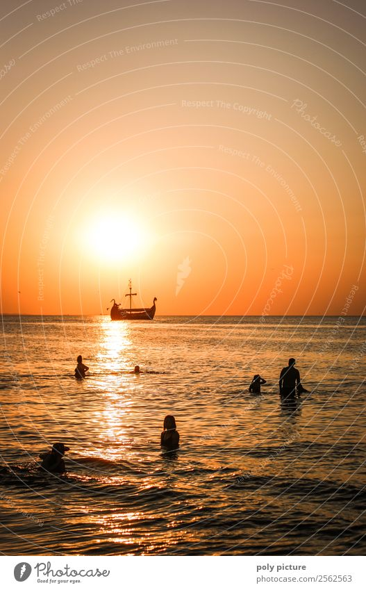 Viking ship passes bathers at sunset Vacation & Travel Tourism Trip Adventure Far-off places Summer Summer vacation Sun Sunbathing Beach Ocean Island Waves