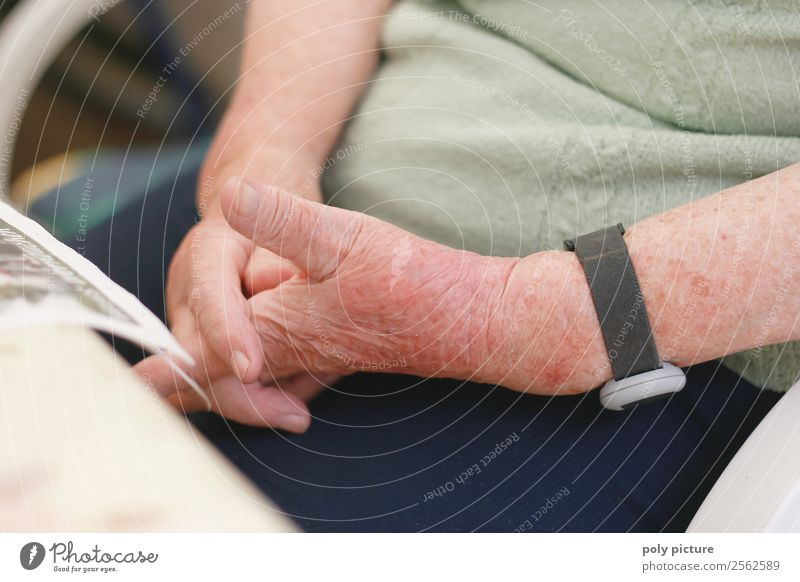 Pensioner keeps her hands crossed Female senior Woman Male senior Man Grandfather Grandmother Adults Senior citizen Life Arm Hand 60 years and older Identity