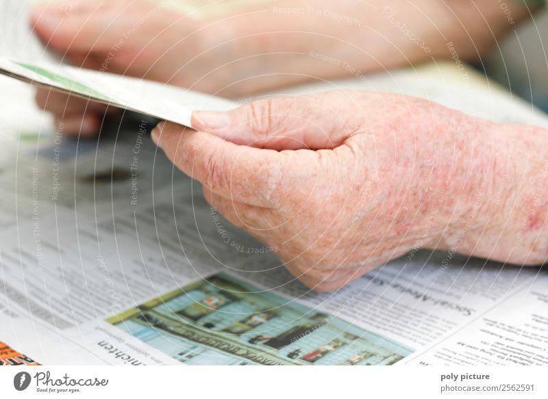 Senior hand holds newspaper Female senior Woman Male senior Man Grandparents Senior citizen Grandmother Hand 60 years and older Education Advancement Identity