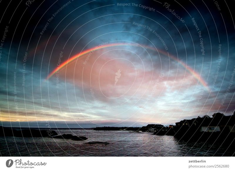 Rågænbøgen Rain Rainwater Rainbow Weather Light Sun Twilight Evening Arctic Ocean Fjord Sky Heaven Horizon Island Landscape Lofotes Maritime Nature Norway