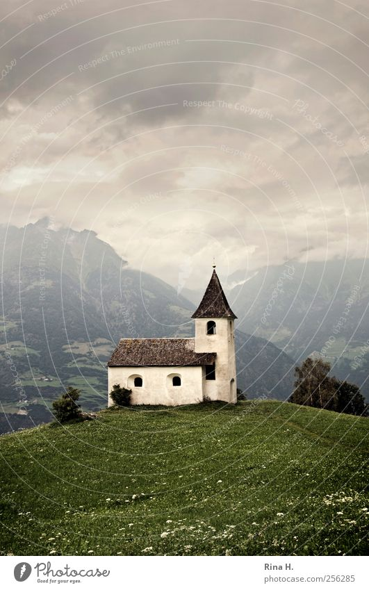 Church on hill Nature Landscape Clouds Storm clouds Summer Climate Bad weather Meadow Hill Mountain Meran Tourist Attraction Old Dark Historic Green