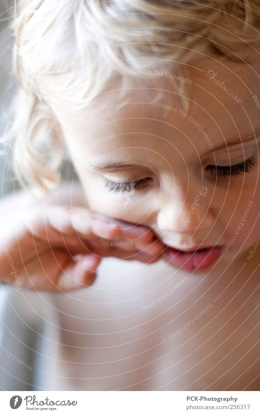 Human being Child Hand Beautiful Girl Emotions Naked Infancy Blonde Cute Meditative Toddler Dreamily Eyelash Gesture Section of image