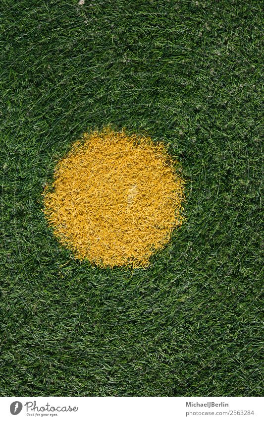 penalty spot on artificial turf football pitch Design Sports Soccer Football pitch Yellow Green Background picture Penalty kick eleven-meter point Point Circle