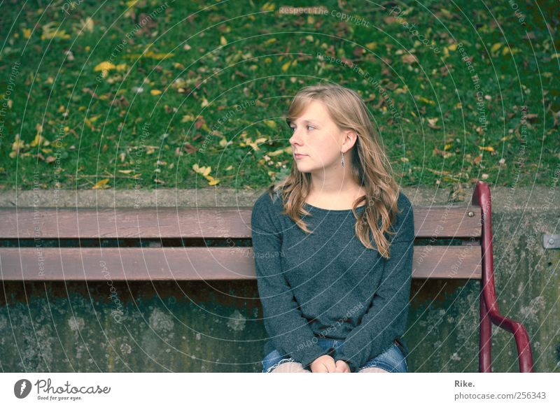 Not an inch. Human being Young woman Youth (Young adults) 1 18 - 30 years Adults Autumn Grass Leaf Park Sweater Blonde Long-haired Bench Observe Sit Dream