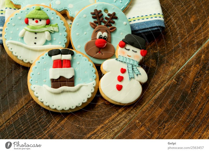 Delicious Christmas Cookies Dessert Winter Decoration Table Feasts & Celebrations Christmas & Advent Wood Ornament Blue Brown Tradition christmas Gingerbread