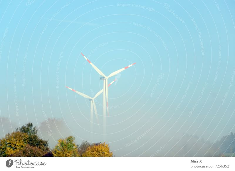 Fog Wheels Technology Energy industry Renewable energy Wind energy plant Environment Sky Rotate Pinwheel Shroud of fog Colour photo Multicoloured Exterior shot
