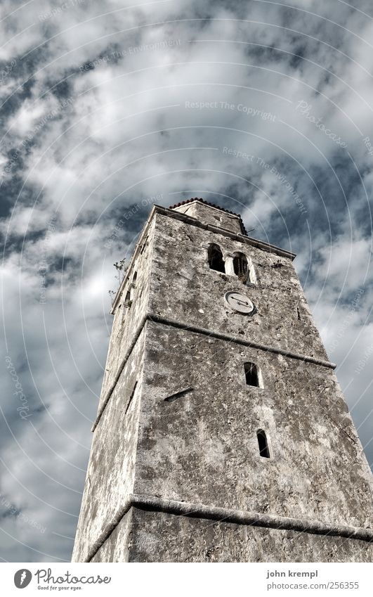 Old Clouds Sadness Architecture Building Gray Religion and faith Idyll Power Tourism Esthetic Church Transience Tower Change Might