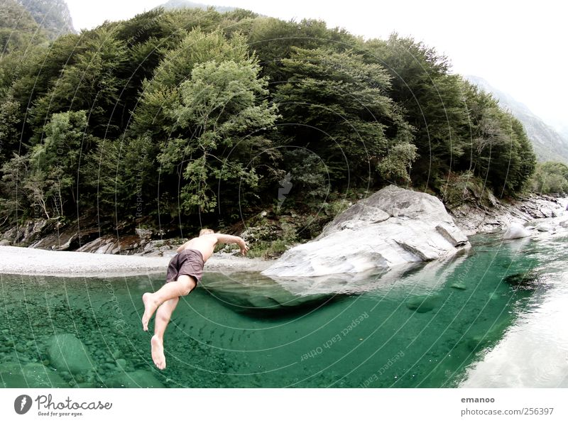Human being Nature Vacation & Travel Green Summer Water Landscape Joy Cold Mountain Style Lifestyle Rock Jump Masculine Trip