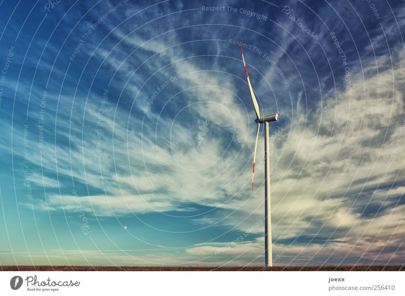 standstill Renewable energy Wind energy plant Sky Clouds Beautiful weather Rotate Large Blue White Energy Horizon Environmental protection Future Rotor