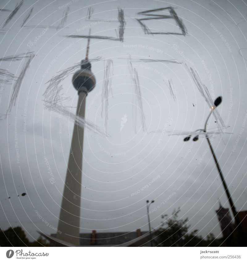 Scratching Berlin Sky Autumn Downtown Berlin Capital city Tourist Attraction Landmark Berlin TV Tower Characters Graffiti Line Stand Dark Large Tall Long