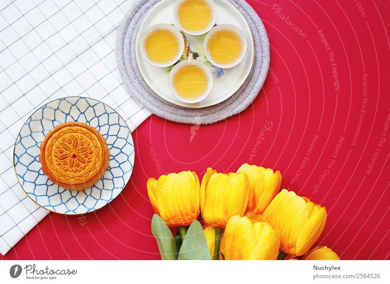 Flat lay of chinese moon cake with hot tea Dessert Tea Style Design Happy Beautiful Decoration Feasts & Celebrations Art Culture Plant Flower Fashion Fresh Hot