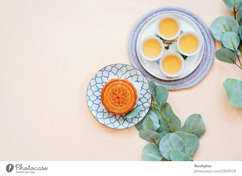 Top view of chinese moon cake Dessert Tea Design Happy Beautiful Decoration Feasts & Celebrations Art Culture Plant Flower Leaf Fresh Hot Hip & trendy Delicious