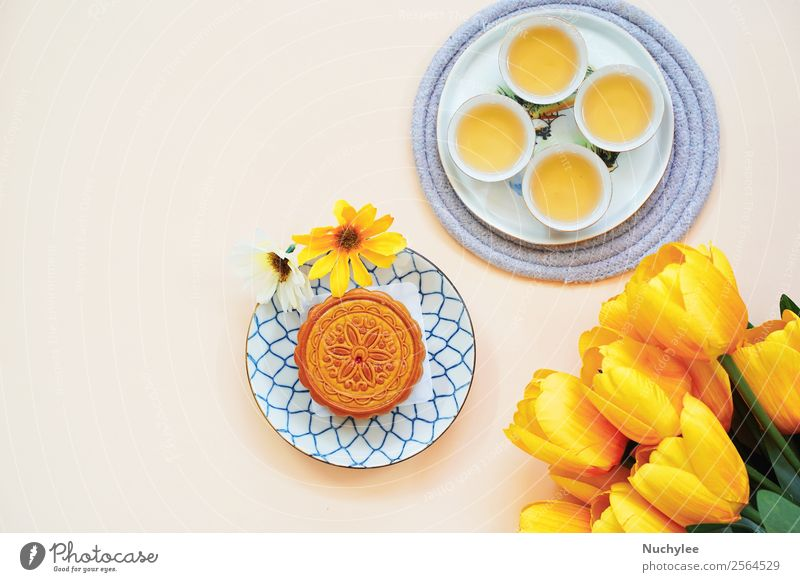 Flat lay of chinese moon cake with hot tea Dessert Tea Design Happy Beautiful Decoration Feasts & Celebrations Art Culture Plant Flower Tulip Leaf Fashion Fresh