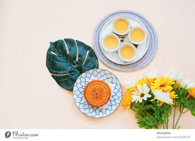 Flat lay of chinese moon cake Dessert Tea Style Design Happy Beautiful Decoration Feasts & Celebrations Art Culture Plant Flower Leaf Fashion Fresh Hot