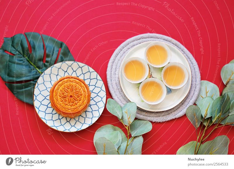 Flat lay of chinese moon cake Dessert Tea Style Design Happy Beautiful Decoration Feasts & Celebrations Art Culture Plant Fashion Fresh Hot Hip & trendy