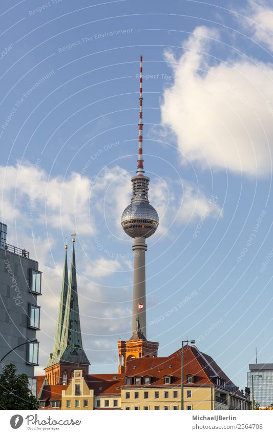 Vacation & Travel Blue Architecture Berlin Germany Church Europe Tower Tourist Attraction Downtown Middle Alexanderplatz Television tower Antenna Edgewise