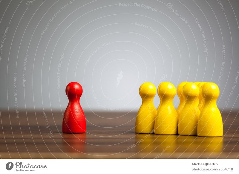 Single red figure in front of group of yellow figures Playing Yellow Red Loneliness Team Symbols and metaphors Converse Leader Group Against Difference