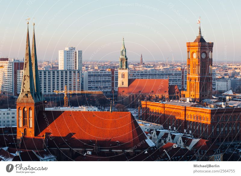 City panorama of Berlin Mitte with Red City Hall Downtown Old town Skyline Tourist Attraction Landmark Rotes Rathaus City hall Middle Panorama (View)