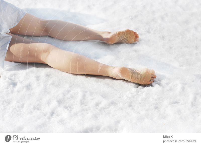 frostbites Human being Feminine Legs Feet 1 Winter Snow Dress Lie White Death Colour photo Exterior shot Copy Space bottom Bright background Isolated Image
