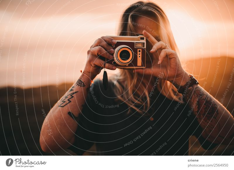 photographer taking pictures with retro camera Lifestyle Style Beautiful Leisure and hobbies Vacation & Travel Trip Summer Camera Human being Woman Adults