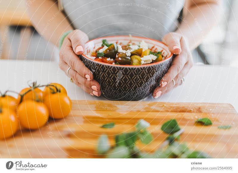 close up of prepared vegetables in bowl Cheese Vegetable Nutrition Eating Lunch Dinner Vegetarian diet Lifestyle Kitchen Woman Adults Hand Fresh Natural Green