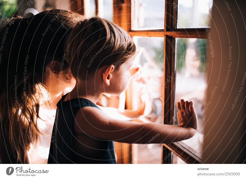 mother and son enjoying view out of window Joy Beautiful Child Baby Boy (child) Woman Adults Parents Mother Family & Relations Zoo Nature Autumn Love Wait