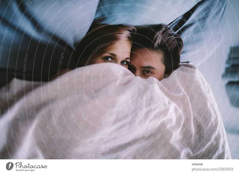 young couple cuddling under blanket in bed Lifestyle Happy Bedroom Human being Woman Adults Man Couple Smiling Love Sleep Happiness Together Under Romance