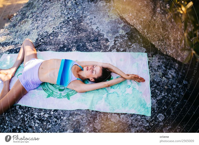 young woman doing yoga exercise at coast Woman Human being Sky Nature Vacation & Travel Summer Beautiful Sun Ocean Relaxation Beach Lifestyle Adults Coast