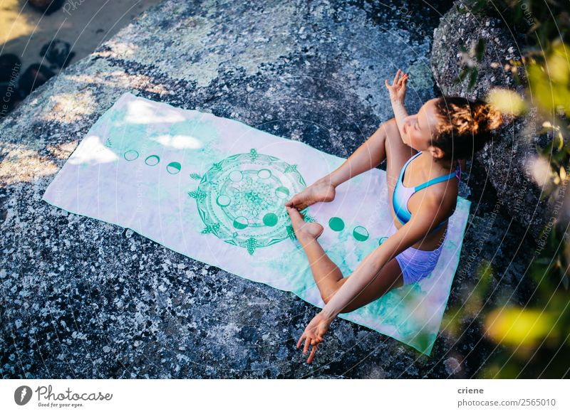 attractive woman doing meditation at beach Lifestyle Beautiful Body Relaxation Meditation Vacation & Travel Summer Sun Beach Ocean Sports Yoga Human being Woman