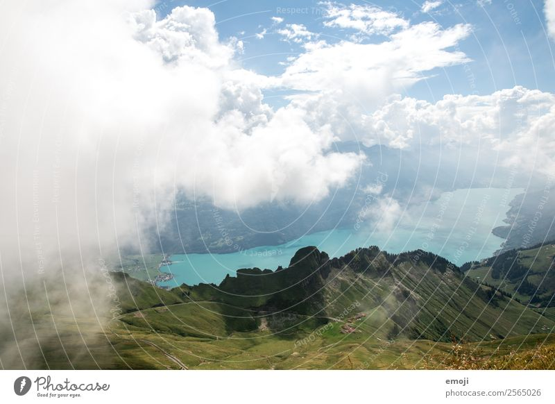 Lake Brienz Environment Nature Landscape Sky Clouds Summer Autumn Climate Weather Alps Mountain Natural Green Tourism Brienz lake Switzerland Class outing