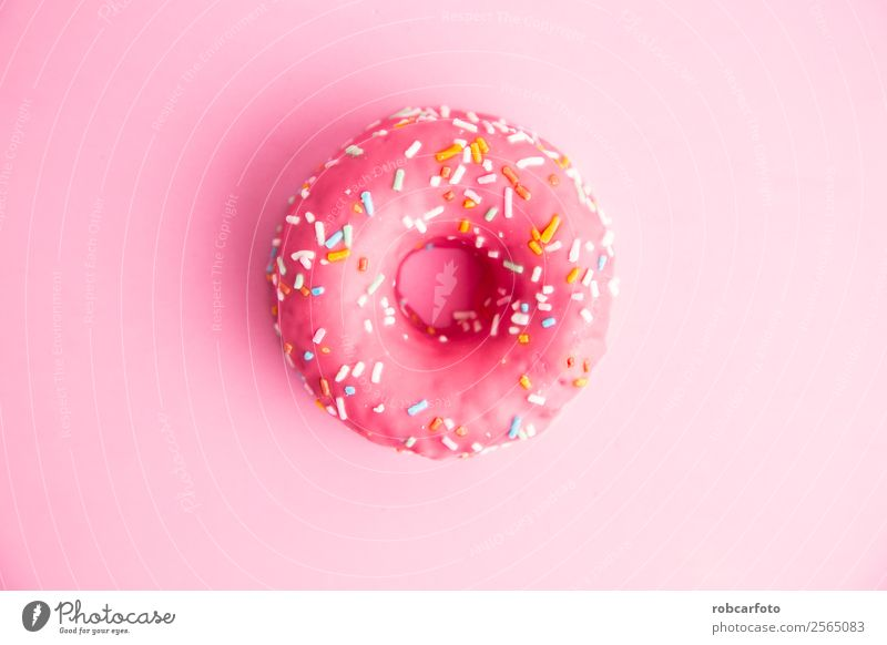 pink donut in colorful background Dessert Nutrition Breakfast Diet Delicious Yellow Pink White Donut Top sprinkles sweet food Bakery calories isolation Icing