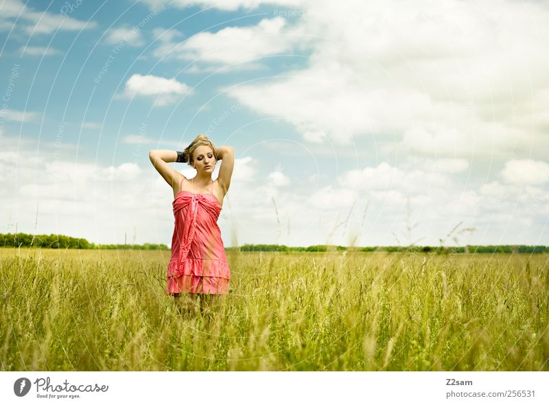 Human being Sky Nature Youth (Young adults) Green Beautiful Clouds Calm Adults Relaxation Feminine Environment Landscape Grass Dream Fashion