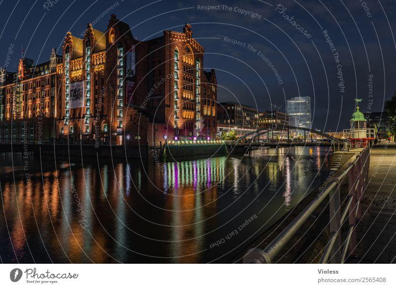 hafencity Harbor city Hamburg Harbour Museum Night Dark Illuminated reflection Night shot