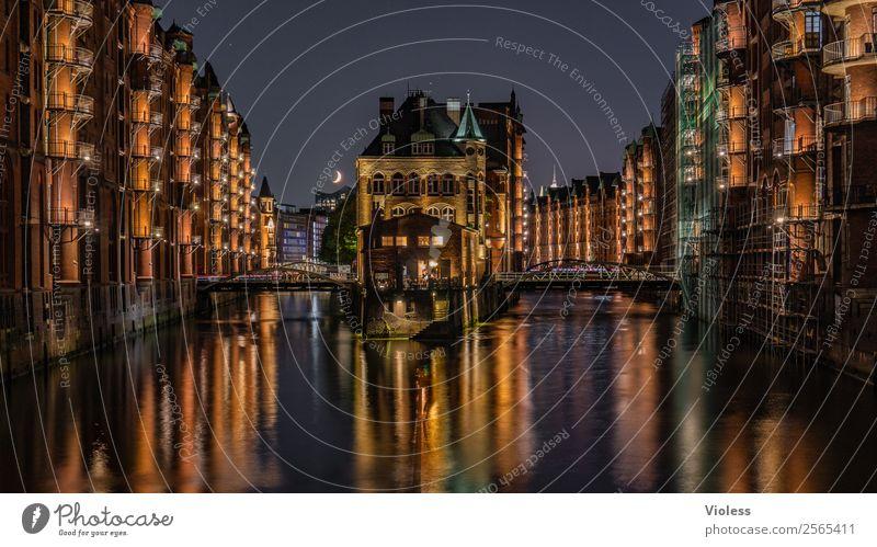 Moated castle Hamburg Speicherstadt IV Twilight Wide angle bridge Castle Night shot Old warehouse district Port of Hamburg Illumination Illuminate Red Maritime