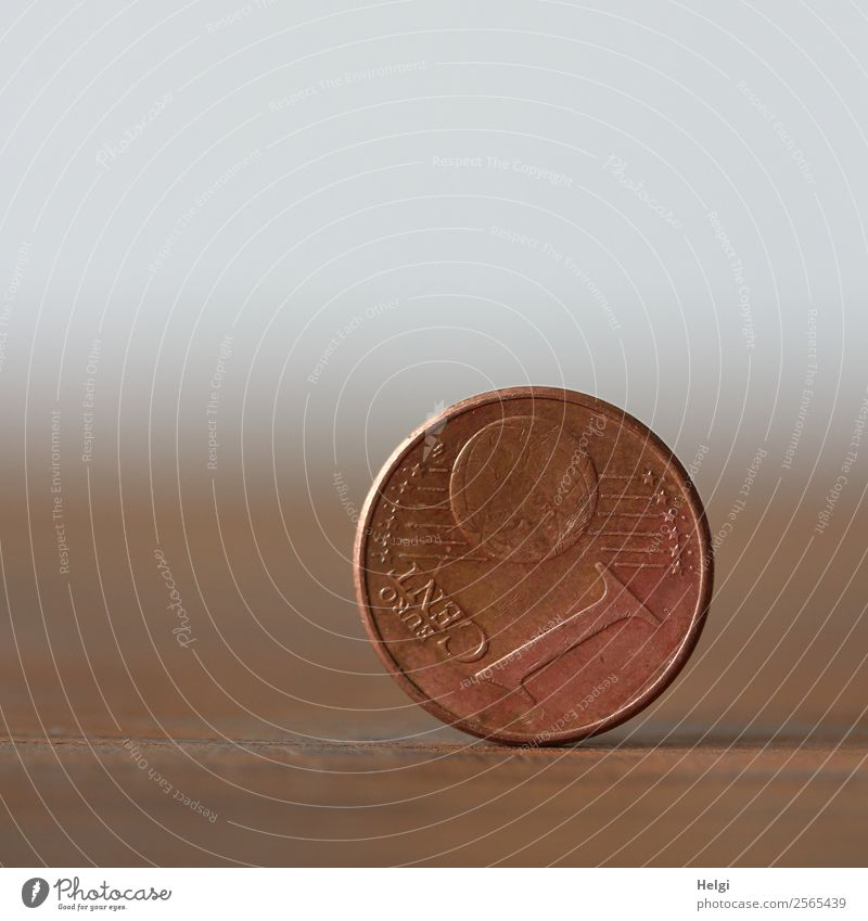a 1-cent coin is placed vertically on the edge Coin Cent Euro Metal Digits and numbers Money Stand Poverty Round Brown Gray Appetite Fear of the future Distress