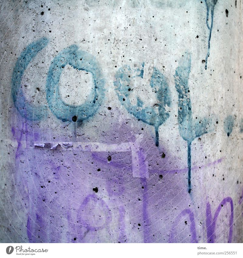 Colour Graffiti Dye Concrete Cool (slang) Violet Painting and drawing (object) Progress Cyan Unclear Daub Lamp post To make dirty Illustration