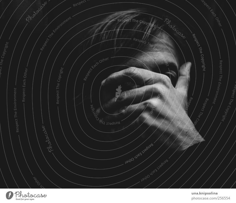 Human being Man Hand Adults Face Dark Emotions Sadness Think Moody Blonde Fear Masculine Threat Protection Hide