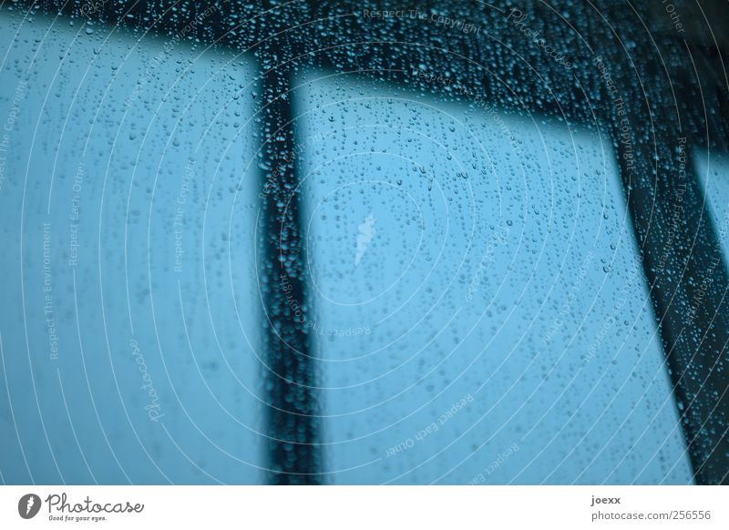 Knock windows Sky Bad weather Rain Window Dark Wet Blue Black Drops of water Colour photo Subdued colour Interior shot Detail Deserted Day