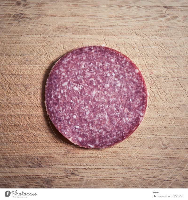 To the Verwursten Food Sausage Salami Nutrition Wood Authentic Exceptional Fresh Delicious Funny Round Brown Red Wooden board Sense of taste Tasty