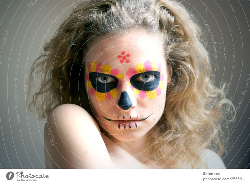 Human being Youth (Young adults) Flower Face Eyes Colour Feminine Death Head Hair and hairstyles Blonde Mouth Skin Nose Lips Curl