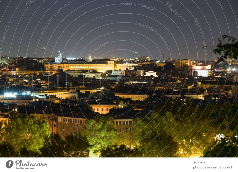 enlightenment City trip Rome Italy Capital city Illuminate Dark Colour photo Exterior shot Deserted Copy Space top Night Long exposure Panorama (View)