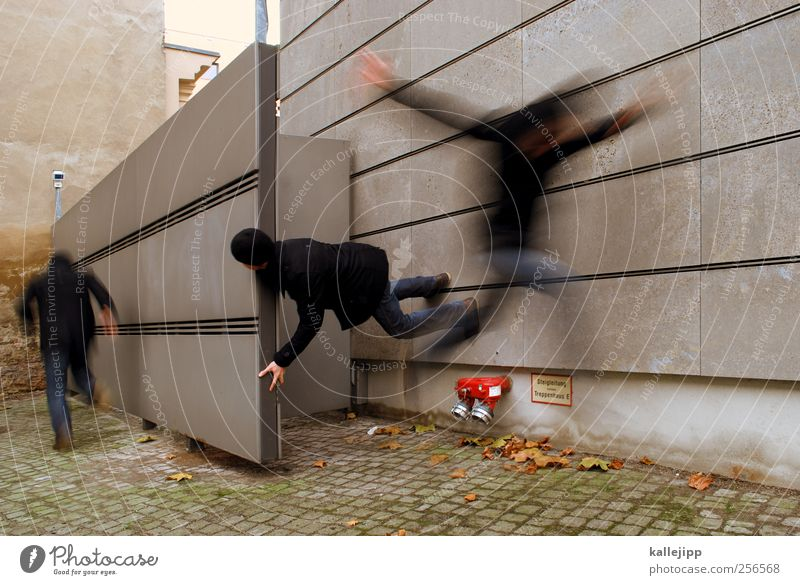 """<font color=""""#ffff00"""">-==- proudly presents Human being Masculine Man Adults Life 3 Jump Escape Flee Wall (barrier) Panic Threat Anxious Colour photo"""
