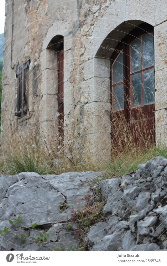 Stone House Door Summer Grass Southern France Deserted House (Residential Structure) Wall (barrier) Wall (building) Window Brown Gray Loneliness Rock arch