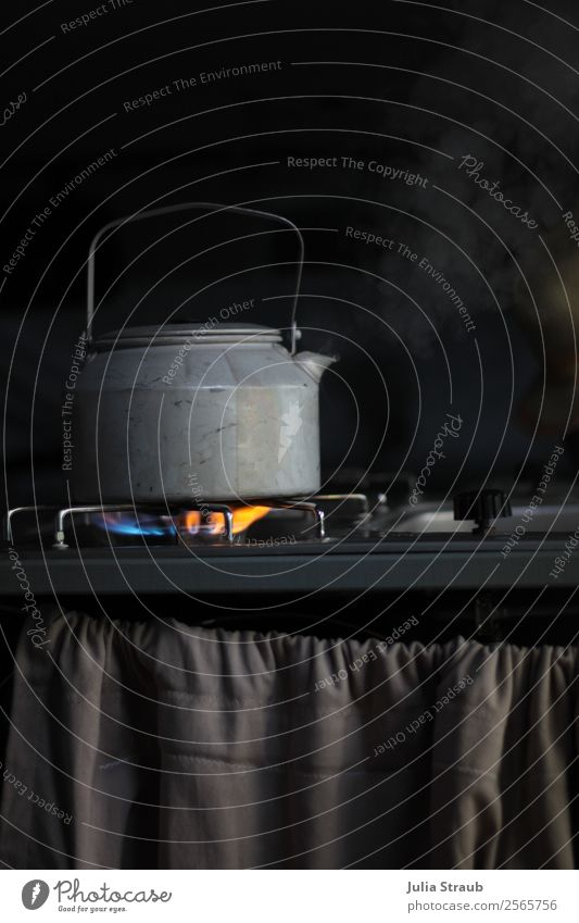 Steam Boiler Gas Camping Slow food Hot drink Kettle Vacation & Travel Calm Serene Break Gas stove Drape Black Gray Colour photo Interior shot Day