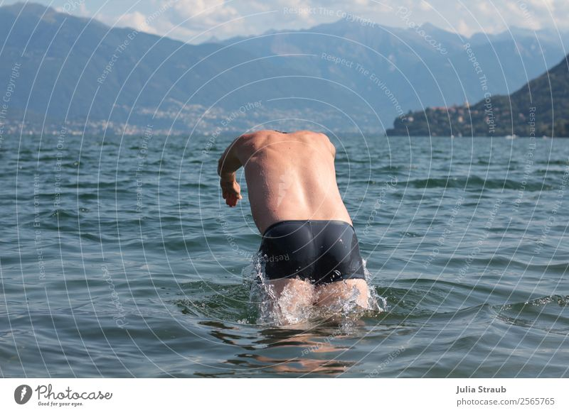 to dive down lake mountains Masculine Man Adults 1 Human being 30 - 45 years Water Drops of water Clouds Summer Mountain Waves Lake Lago Maggiore
