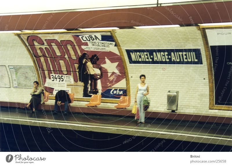 Human being Wait Transport Paris Underground