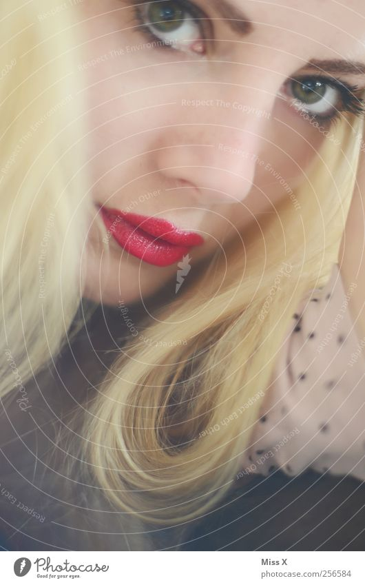 Human being Youth (Young adults) Beautiful Eyes Feminine Blonde Mouth Cosmetics Curl Young woman Make-up Long-haired Lipstick Face Woman