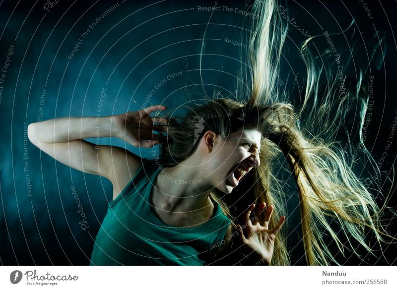Human being Feminine Hair and hairstyles Party Wild Exceptional Young woman Passion Scream Snapshot Dynamics Facial expression Tension Blow Aggression Loud