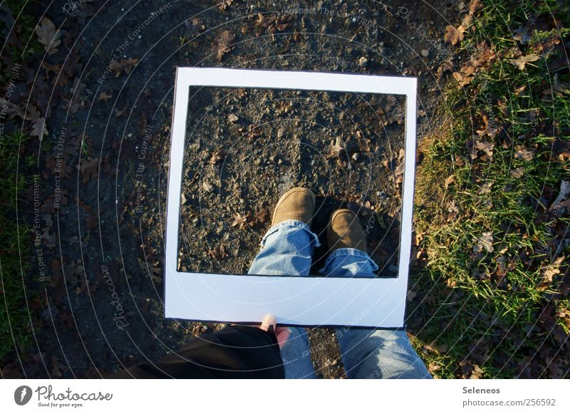 Human being Plant Autumn Meadow Environment Grass Garden Park Feet Footwear Paper Stand Jeans To hold on Take a photo Instant camera